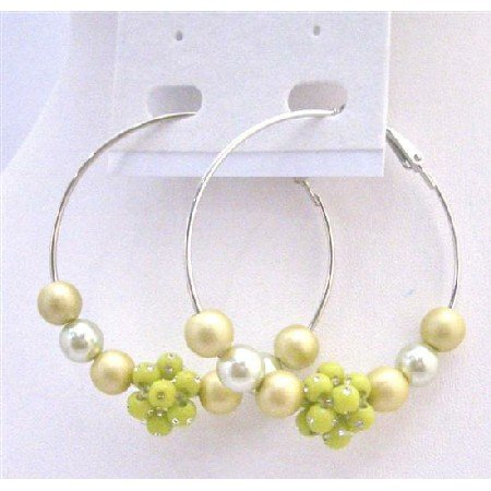 UER343  Golden Green Beads Earrings Affordable Party Earrings Fashionable Hoop Earrings
