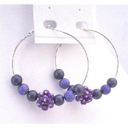 UER341 Purple & Velvet Beads w/ Flower Bead Cubic Zircon Embedded Hoop Earrings