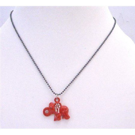 UNE204  Elephant Pendant Choker Necklace Red Enamel Elephant w/ Cubic Zircon Pendant Necklace