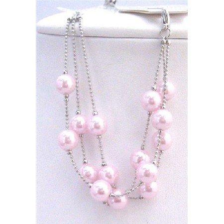 UBR161  Three Stranded Bracelet Pink Pearls Fashionable Adorable Fancy Bracelet
