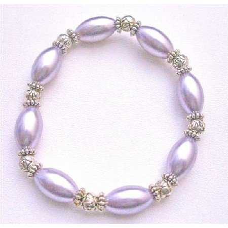UBR160 Bridal Ethnic Jewelry Purple Oval Pearls Stretchable Bracelet w/ Bali Silver Beads