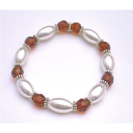 UBR157  Wedding Bridal Bridemaids Stretchable Bracelet White Oval Pearls Smoked Topaz Glass