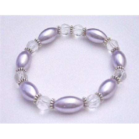 UBR156 Beautiful Purple Oval Pearls Clear Round 10mm w/Bali Silver Stretchable Bracelet