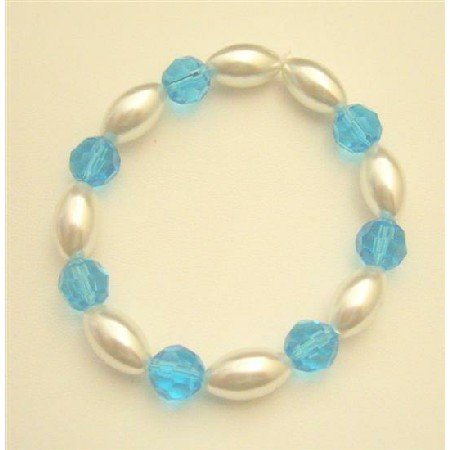 UBR154   Party Jewelry Ivory Oval Pearls w/Aquamarine Round Bead 10mm Stretchable Bracelet