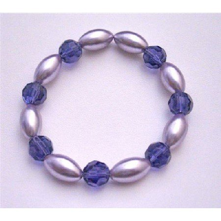 UBR152 Bridemaids Stretchable Bracelet Pearls Purple Pearls Velvet Round 10mm Glass Beads