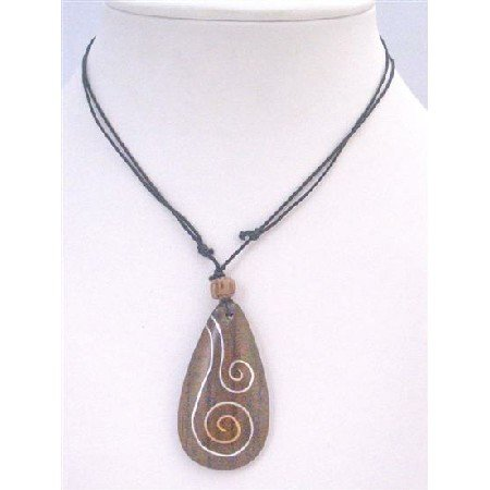 U177  Wooden Pendant Necklace Black Cord Adjustable From 15 to 24 Inches Antique Vintage Necklace
