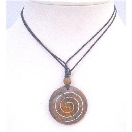 U171 Round Wooden Pendant Black Cord Necklace Adjustable Ethnic Desgined Vintage Jewelry
