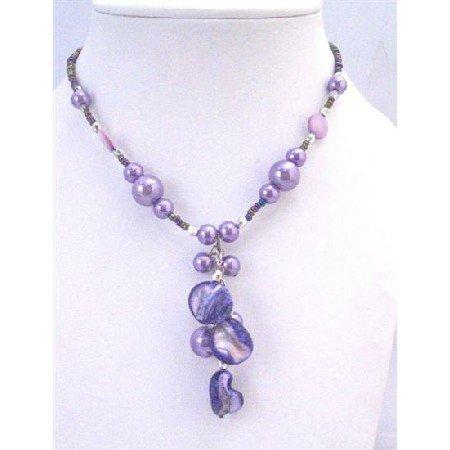 U165 Beautiful Choker Accented in Dainty Purple Bead w/Purple Shell & Purple Pearls Necklace