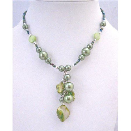 U163  Affordable Cheap Necklaces With Green Cultured Pearls & Shell Choker Necklace