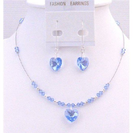 NSC709 Sleek Heart Jewelry In Lite Sapphire Crystals Heart Pendant and Heart Dangling Earrings Set