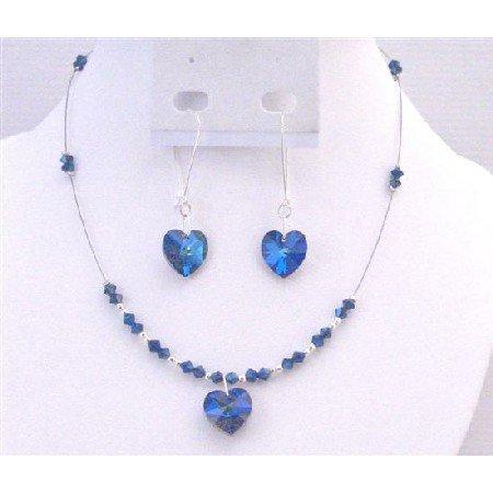 NSC707  Burmuda Crystals Jewelry Set Swarovski Burmuda Crystals Heart Pendant Earring Set