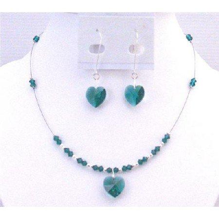 NSC706 Gorgeous Swarovski Emerald Crystals Heart Pendant Jewelery Set Valentine Gift