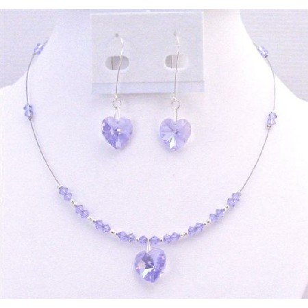 NSC702 Genuine Swarovski Voilet Crystals Heart Pendant & Heart Dangling Earrings Set