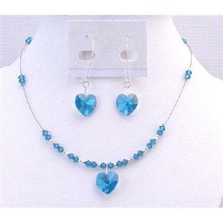 NSC701 New Sparkling Genuine Swarovski Blue Zircon Heart Pendant Exclusively Valentine Gift