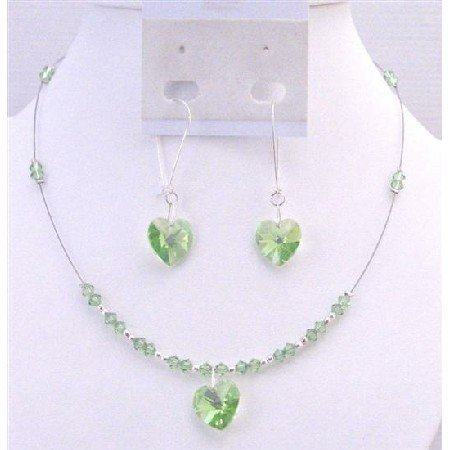 NSC700 Swarovski Peridot Crystals Heart Pendant  Earrings Sterling Silver HOop Jewelry Set