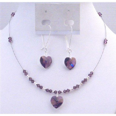 NSC699 Swarovski Amethyst Heart Pendant & Heart Dangling Earrings Set For YOur Love