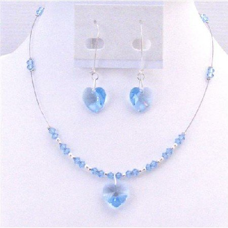 NSC698 Swarovski Heart Crystals Pendant Set Aquamarine Heart Set Dangling Sterling Earrings Set