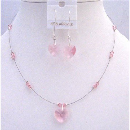 NSC697  Sleek Dainty Pure Lite Rose Crystals Heart Pendant & Earrings Set Valentine Jewelry