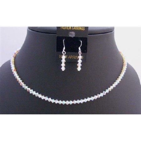NSC288  Round Neck Necklace String Genuine Swarovski AB 2X Crystals Necklace