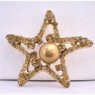 B350 Smoked Topaz Brooch Golden StarFish Brooch With 12mm Copper Pearls Vintage Brooch