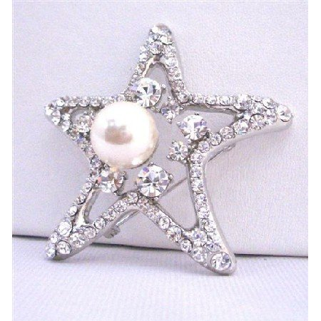 B349 StarFish Brooch w/12mm Pearls As Fish Eye Vintage Brooch w/Sparkling Diamante Spread