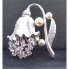 B342  Lamp Flower Shaped Brooch Fully Embedded w/ Diamante Bridal Bridemaids Dress