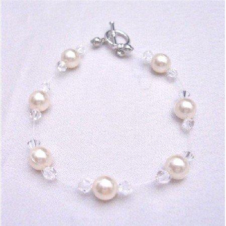 TB756  Ivory Pearls Clear Crystals Bracelet Swarovski Jewelry