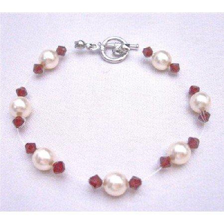 TB755  Cheap Wedding Jewelry Genuine Swarovski Ivory Pearls & Siam Red Crystals Bracelet