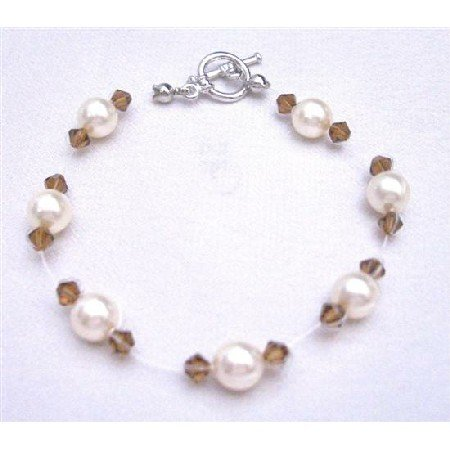 TB754  Flower Girl Affordable Jewelry Ivory Pearls Smoked Topaz Crystals Bracelet
