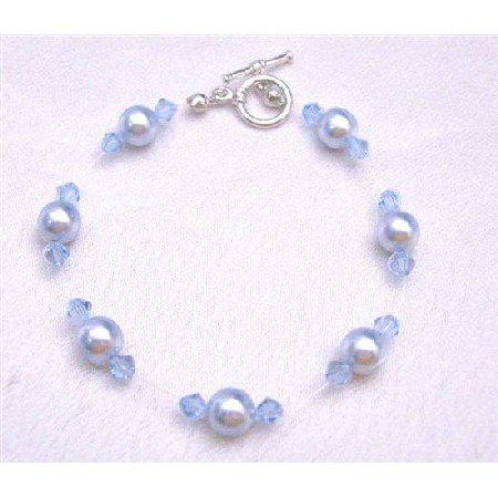 TB753  Bridemaides Wedding Jewelry Aqumarine Pearls Crystals Toggle Clasp Bracelet