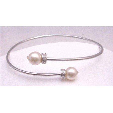 TB769 Genuine Swarovski Gold Pearls Comfortable Adjustable Wrist Bracelet w/ Diamante