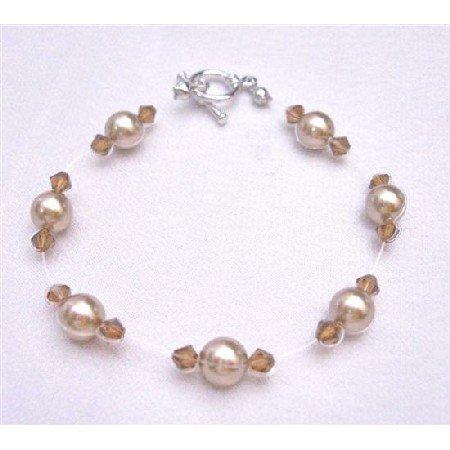 TB758 Wedding Jewelry w/Genuine Swarovski Bronze Pearls&Smoked Topaz Crystals Bracelet