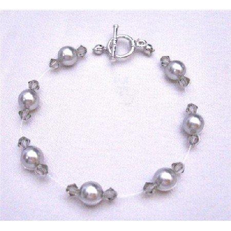 TB751 Grey Pearls Bracelet Swarovski Bracelet w/ Swarovski Black Diamond Crystals Bracelet