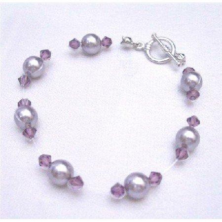 TB750 Swarovski Jewelry Mauve Pearls w/ Amethyst Crystals Bracelet Bridemaids Flower Girl