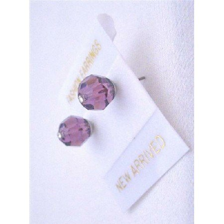 UER336  Amethyst Crystals Earrings Swarovski Amethyst Crystals Stud Earrings