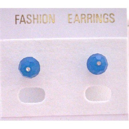 UER333   Sexy Crystals Stud Earrings NEW Carribean Blue Genuine Swarovski Stud Earrings