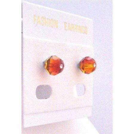 UER331  Wedding Bridemaides Fire Opal Burnt Orange Crystals Stud Earrings