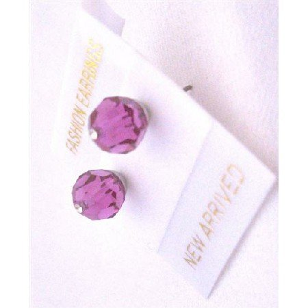 UER330  Bridemaides Crystals Stud Earrings Fuschia Genuine Swarovski Crystals Stud Earrings
