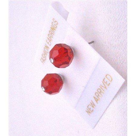 UER326  Lite Siam Red Swarovski Crystals Earrings Genuine Swarovsk Stud Earrings