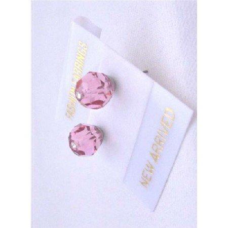 UER323  Wedding Swarovski Rose Crystals Stud Earrings Pink Crystals Stud Earrings Jewelry