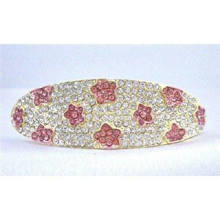 HA500  Wedding Hair Barrette Fully Encrusted Clear Crystals w/ Pink Flower Crystals Embedded