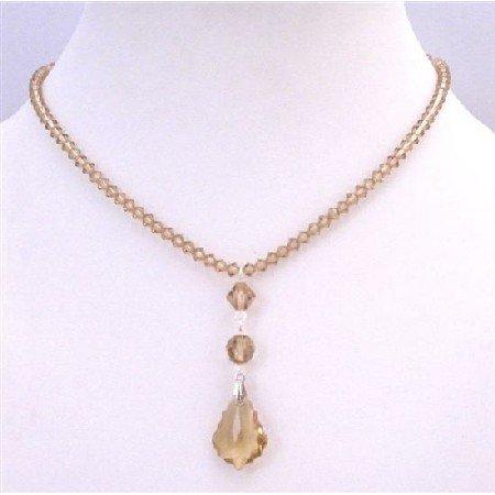 BRD885 Lite Colorado Crystals 4mm Necklace w/Briollette Pendant COlorado Crystals Bridal Necklace