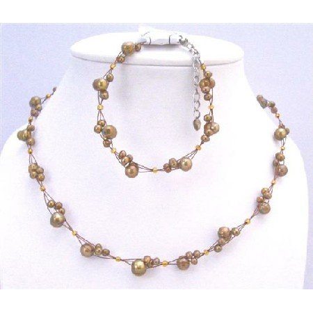 BRD876 Interwoven Necklace Set Metallic Brown Pearls Necklace&Bracelet Set Bridemaids Jewelry Set