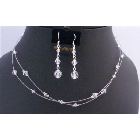 BRD870  Double Stranded Clear Crystals Wedding Jewelry Bridal Bridemaids Necklace Set