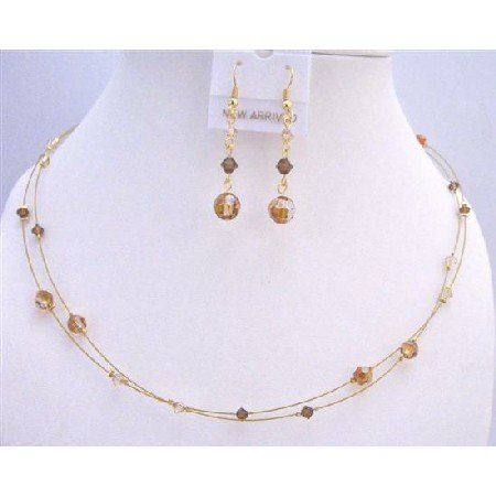 BRD869  Swarovski Copper Crystals Golden Shadow & Smoked Topaz TriColor Crystals Necklace Set