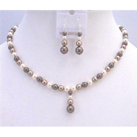 BRD867 TriColor Pearls Bridal Bridemaids Jewelry Set Genuine Swarovski Bronze Brown Ivory Pearls Set