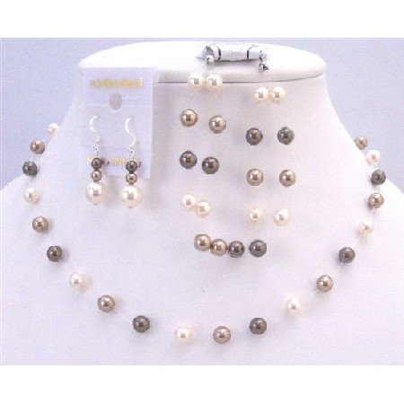 BRD866  Combo Tri Pearls Color Bronze Ivory Brown Necklace Set Custom Your Wedding Prom Jewelry Set