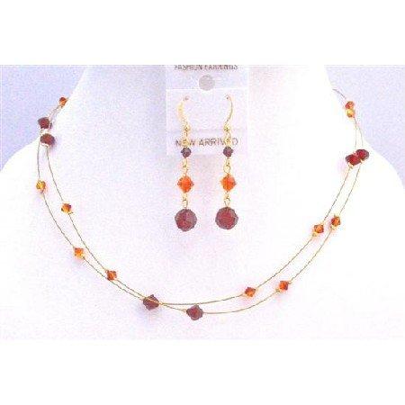 BRD848  Golden Wire Women Jewelry Set w/ Siam Red & Fire Opal Cool Combo Jewelry Set