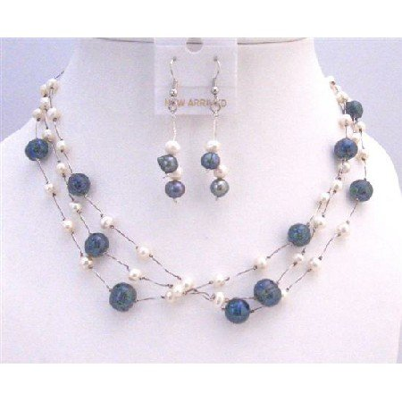 BRD845 Dark Blue Pearls w/White Pearls Three Stranded Silk Thread Necklace Jewelry Set