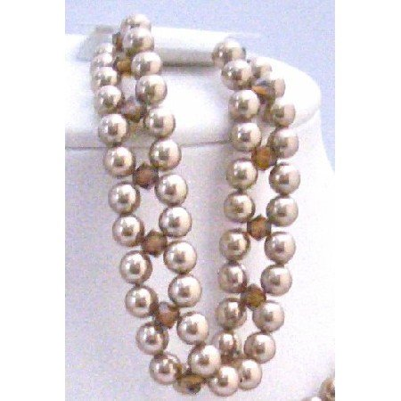 TB707 3 stranded Bronze Pearls & Middle Strand  Smoked Topaz Crystals Pearls Toggle Clasp Bacelet